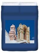 Santorini Bell Towers Duvet Cover
