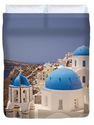 Santorini Blue Domes Duvet Cover