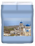 Santorini Church Overlooking The Sea Duvet Cover