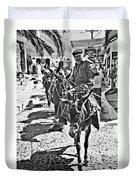 Santorini Donkey Train. Duvet Cover