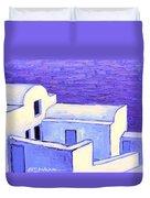 Santorini Houses Duvet Cover