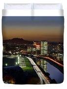 Sao Paulo Skyline At Dusk - Jockey Club - Pinheiros River Towards Pico Do Jaragua Duvet Cover