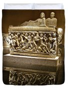 Sarcophoghus Reflected In Antalya Archeological Museum-turkey  Duvet Cover