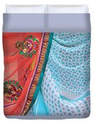Saree In The Market Duvet Cover