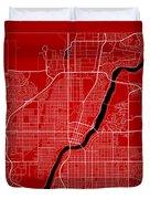 Saskatoon Street Map - Saskatoon Canada Road Map Art On Color Duvet Cover