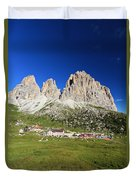 Sassolungo From Sella Pass Duvet Cover