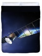 Satellite Communications With Earth Duvet Cover by Johan Swanepoel