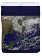 Satellite View Of A Noreaster Storm Duvet Cover