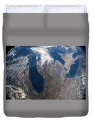 Satellite View Of Great Lakes Duvet Cover