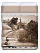 Savannah Fountain In Sepia Duvet Cover