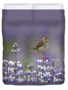 Savannah Sparrow And Nootka Lupine Duvet Cover