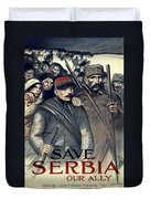 Save Serbia Our Ally Duvet Cover by Theophile Alexandre Steinlen