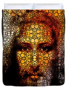 Savior - Stone Rock'd Jesus Art By Sharon Cummings Duvet Cover by Sharon Cummings