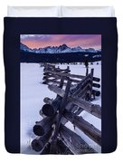 Sawtooth Sunset In Winter Duvet Cover