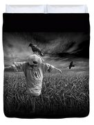 Scarecrow And Black Crows Over A Cornfield Duvet Cover