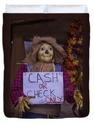 Scarecrow Holding Sign Duvet Cover