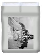 Scarf Camera In Black And White Duvet Cover