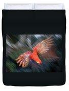 Scarlet Macaw Flying Amazon Basin Peru Duvet Cover