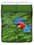 Scarlet Macaw Juvenile In Flight Duvet Cover