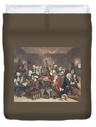 Scene In A Gaming House, Plate Vi Duvet Cover by William Hogarth