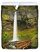 Scenic Elowah Falls In The Columbia River Gorge In Oregon Duvet Cover