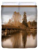 Scenic Golden Wooden Bridge Tree Reflection On The Deschutes River Duvet Cover