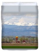 Scenic View Looking Over Anderson Farms Up To Rockies Duvet Cover
