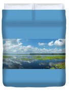 Scenic View Of A Lake Against Cloudy Duvet Cover