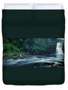 Scenic View Of Waterfall, Teesdale Duvet Cover