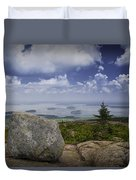 Scenic View With Boulder On Top Of Cadilac Mountain Duvet Cover