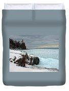 Scenic Winter Lighthouse Duvet Cover