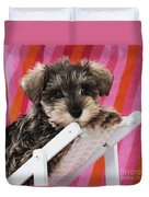 Schnauzer Puppy Looking Over Top Duvet Cover