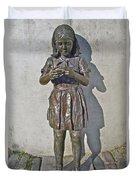 School Girl Sculpture In Saint John's-nl Duvet Cover