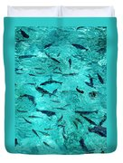 School Of Fishes In The Transparent Water Duvet Cover