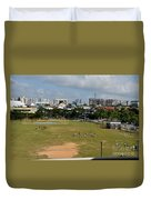 Schoolchildren Practicing On Playing Field With Singapore Skyline In Background Duvet Cover