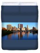 Scioto River And Columbus Ohio Skyline Duvet Cover