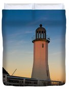 Scituate Lighthouse In Oct Duvet Cover