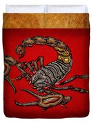 Scorpion On Red And Brown Leather Duvet Cover