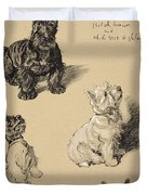 Scotch Terrier And White Westie Duvet Cover