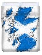 Scotland Painted Flag Map Duvet Cover