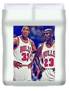 Scottie And Michael Duvet Cover by Florian Rodarte