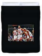 Scottie Pippen With Michael Jordan And Dennis Rodman Duvet Cover by Florian Rodarte