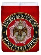 Scottish Rite Double-headed Eagle On Red Leather Duvet Cover