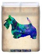 Scottish Terrier Poster Duvet Cover