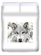 Scrimshaw Grey Wolf Duvet Cover