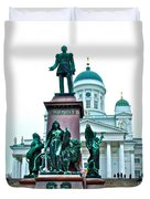 Sculpture Of Alexander II In Cathedral Of Helsinki-finland Duvet Cover
