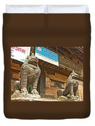 Sculptures Of Protector Figures In Front Of Sufata Buddhist College In Patan Durbar Square Duvet Cover