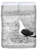 Sea Gull On Wharf Patrol Duvet Cover