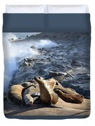 Sea Lions Seek Shelter Duvet Cover