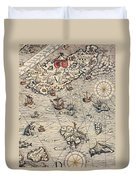 Sea Map By Olaus Magnus Duvet Cover